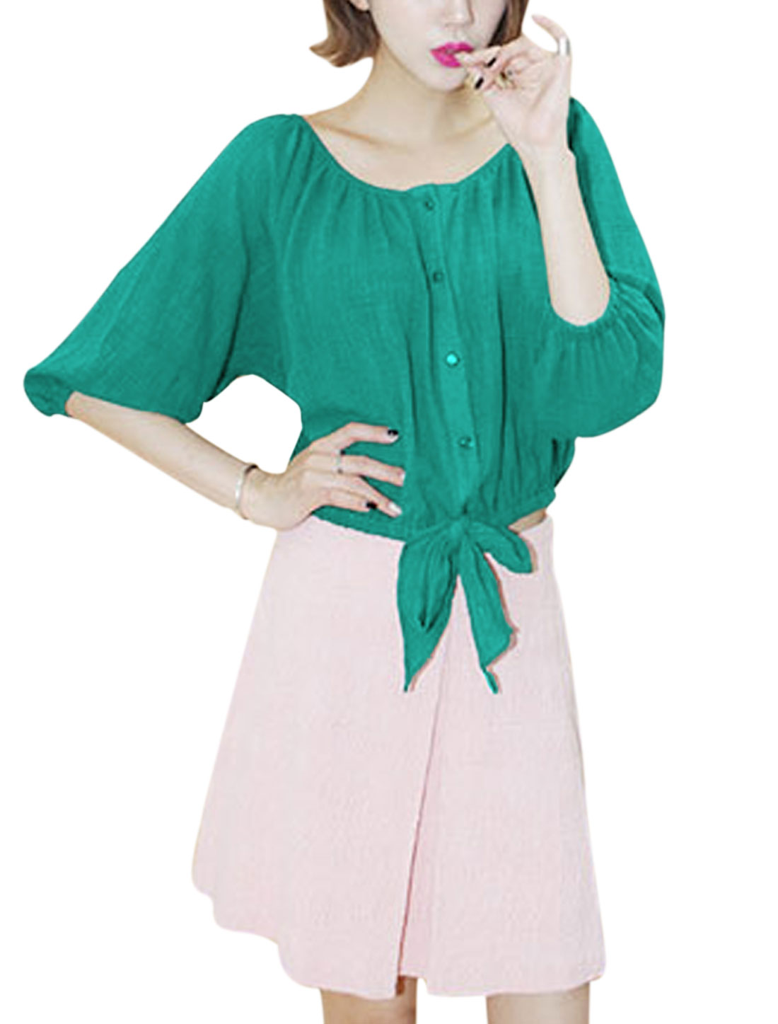 Women 3/4 Raglan Sleeves Button-Front Bow-tie Hem Leisure Top Dark Green M