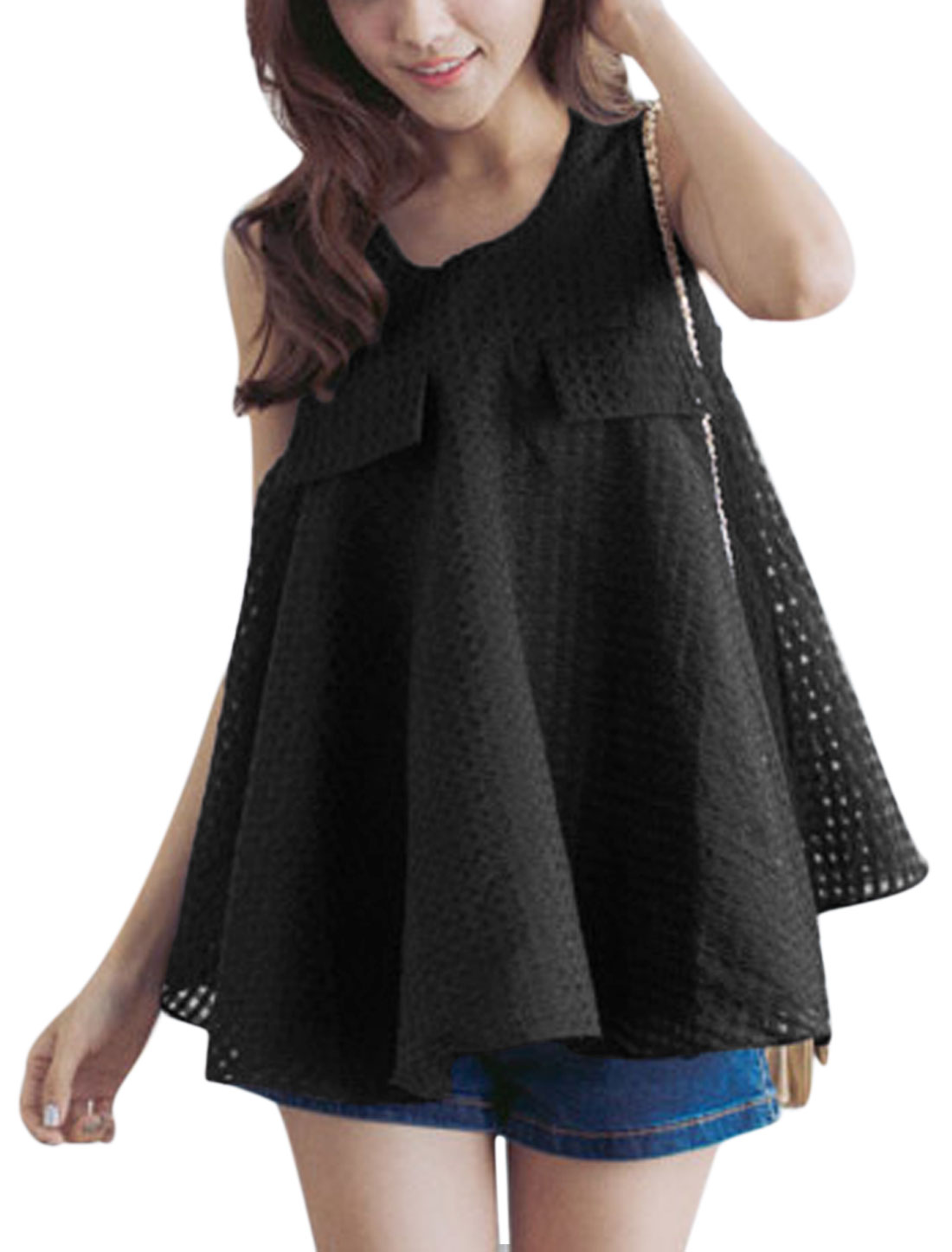 Ladies U Neck Plaids Design Fake Flap Pockets Sweet Tank Top Black S