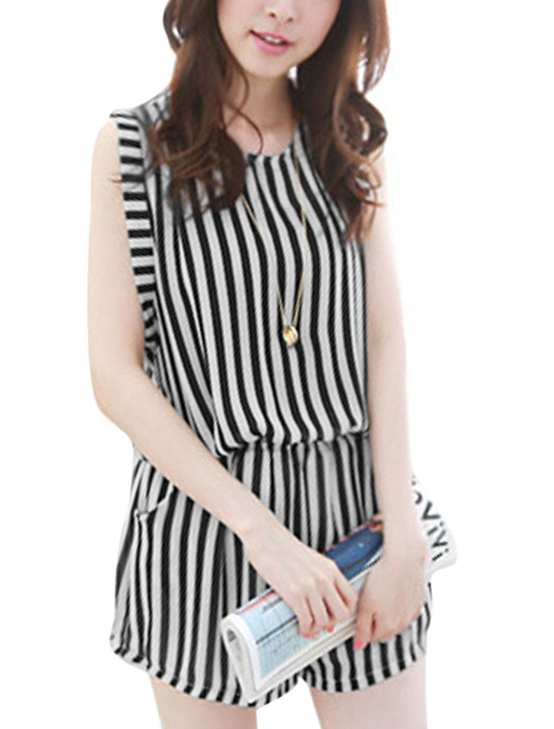 Lady Fashion Cut Out Back Half Lined Vertical Striped Chiffon Romper Black White XS