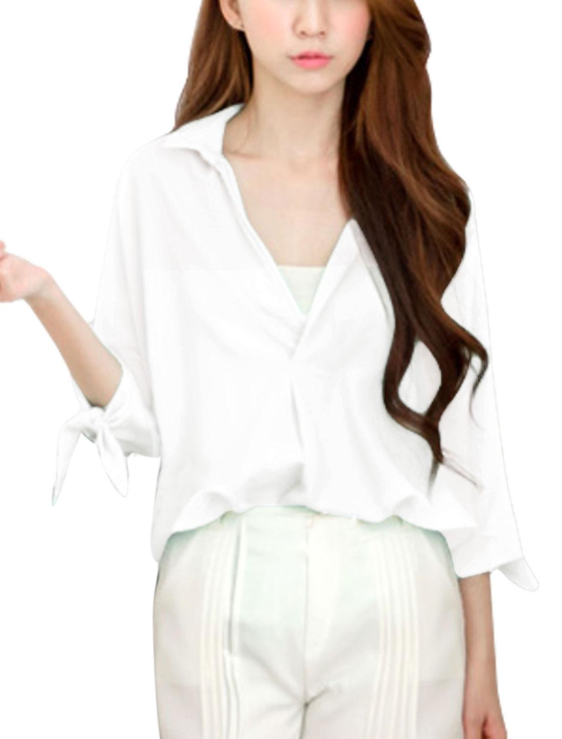 Women 3/4 Batwing Sleeves Self Bowtie Cuffs Leisure Shirt White S