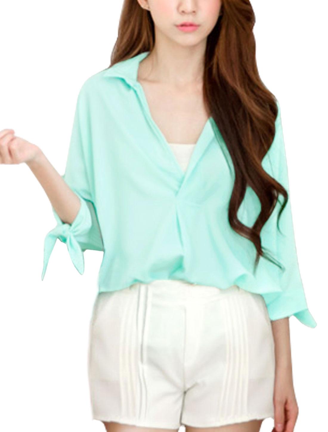 Women 3/4 Batwing Sleeves Semi Sheer V Neckline Leisure Shirt Mint S