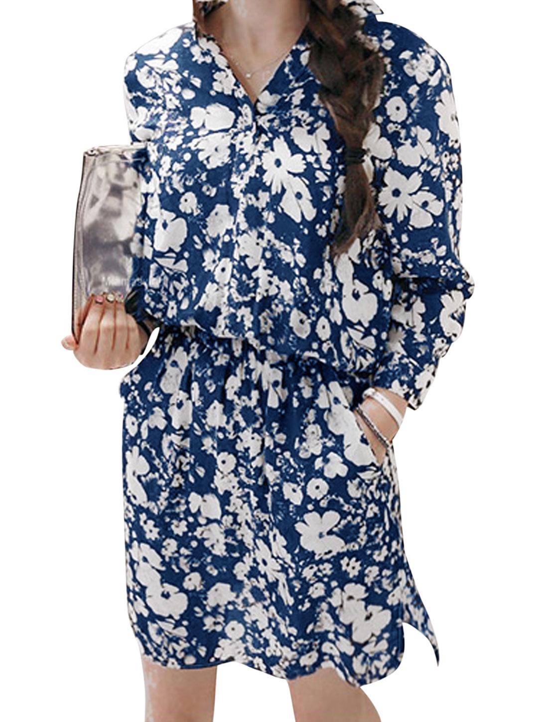 Lady Split Neck Floral Pattern Elastic Waist Casual Shirt Dress Blue XS