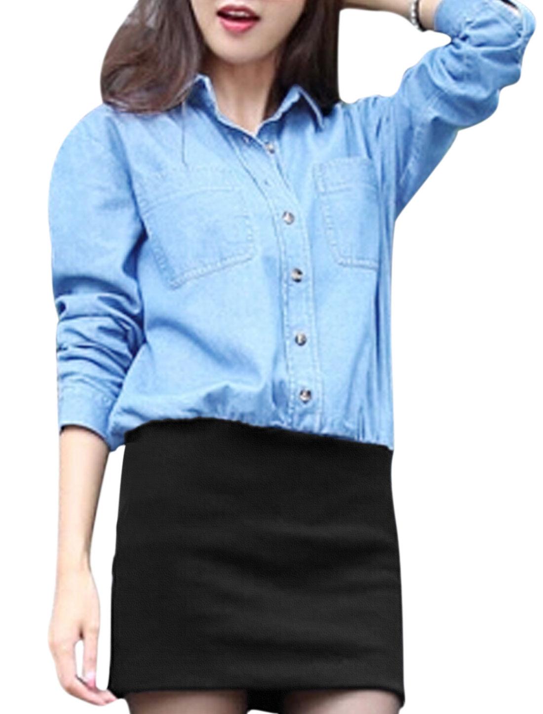 Women Spliced Design Bust Pockets Button-Front Chic Denim Shirt Dress Black Blue XS
