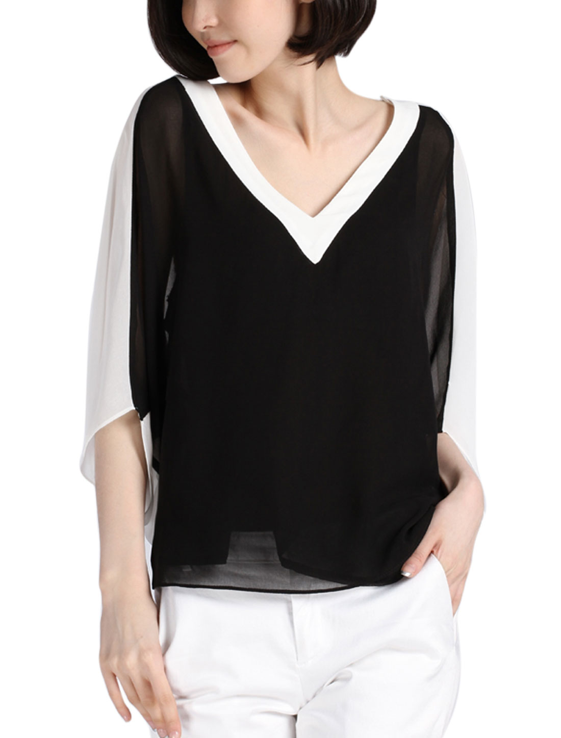 Lady Color Block V Neck Batwing Sleeve Semi Sheer Chiffon Top Black White XS