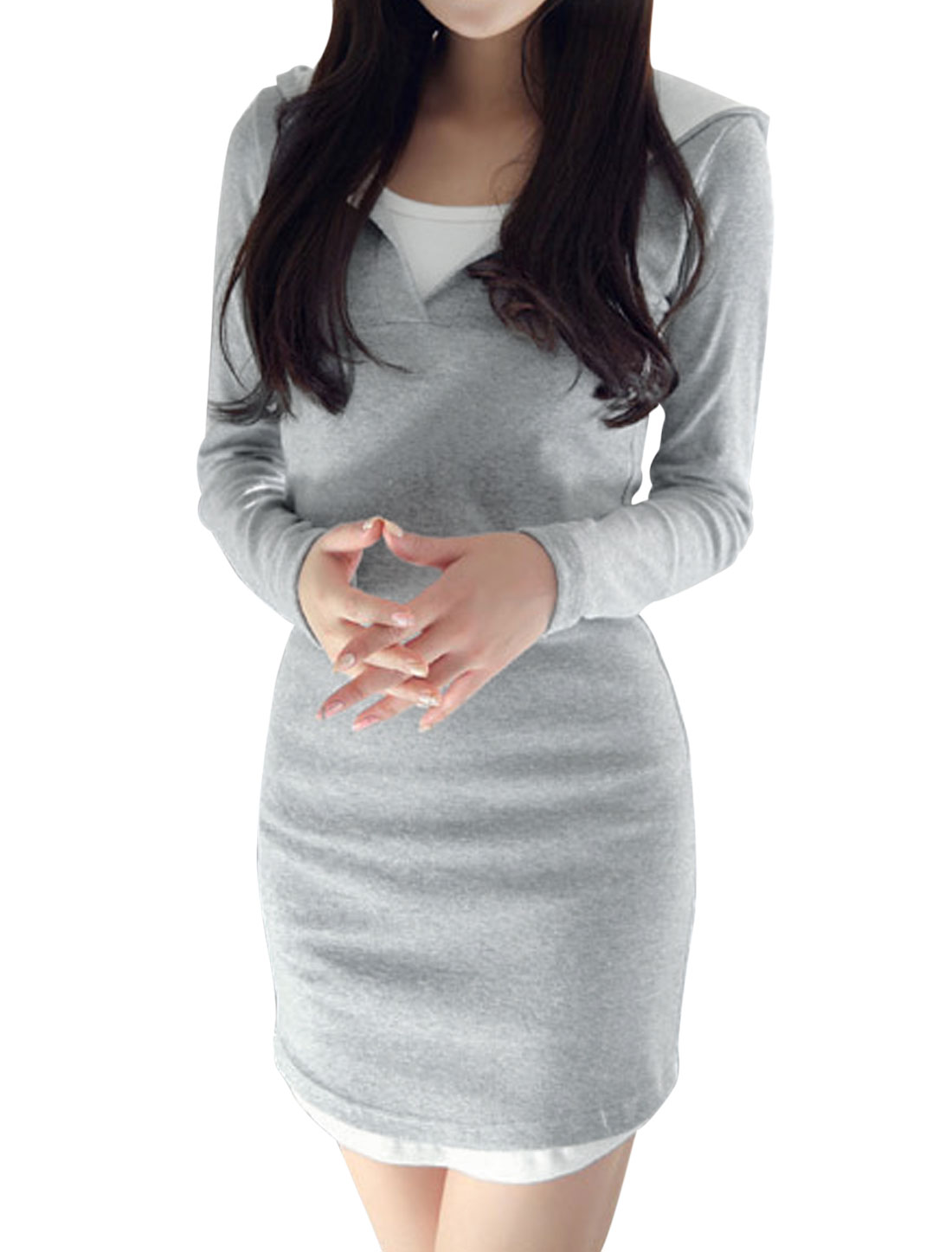 Lady Long Sleeve V Neckline Casual Hooded Dress Gray M