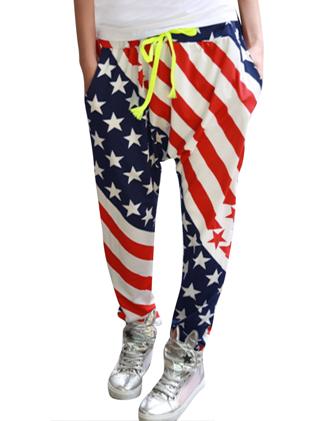 Lady Stars Stripes Pattern Loose Crotch Casual Harem Pants Multicolor XS