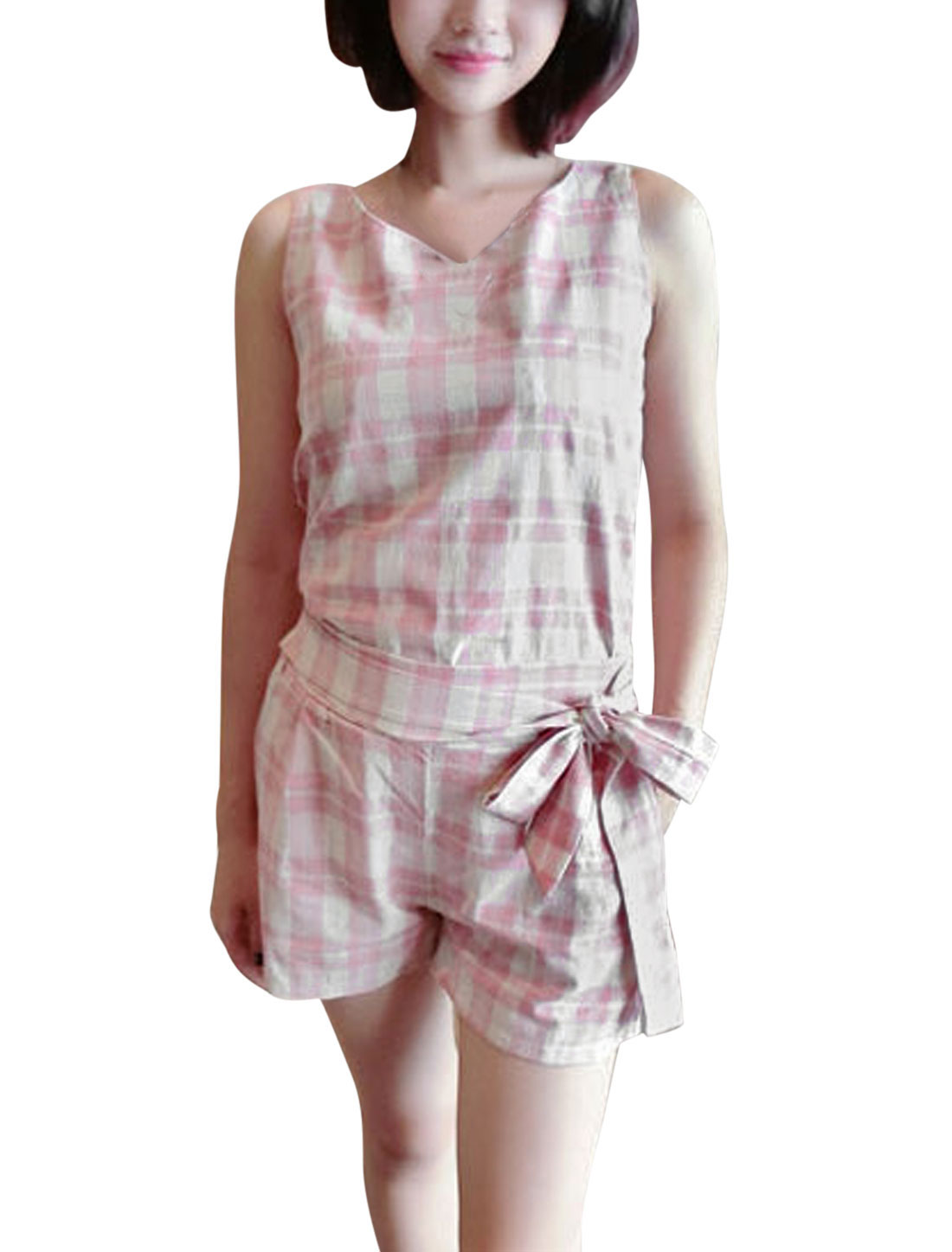 Lady Plaids Pattern Hidden Zipper Back Top w Elastic Waist Shorts Set Pink Beige XS