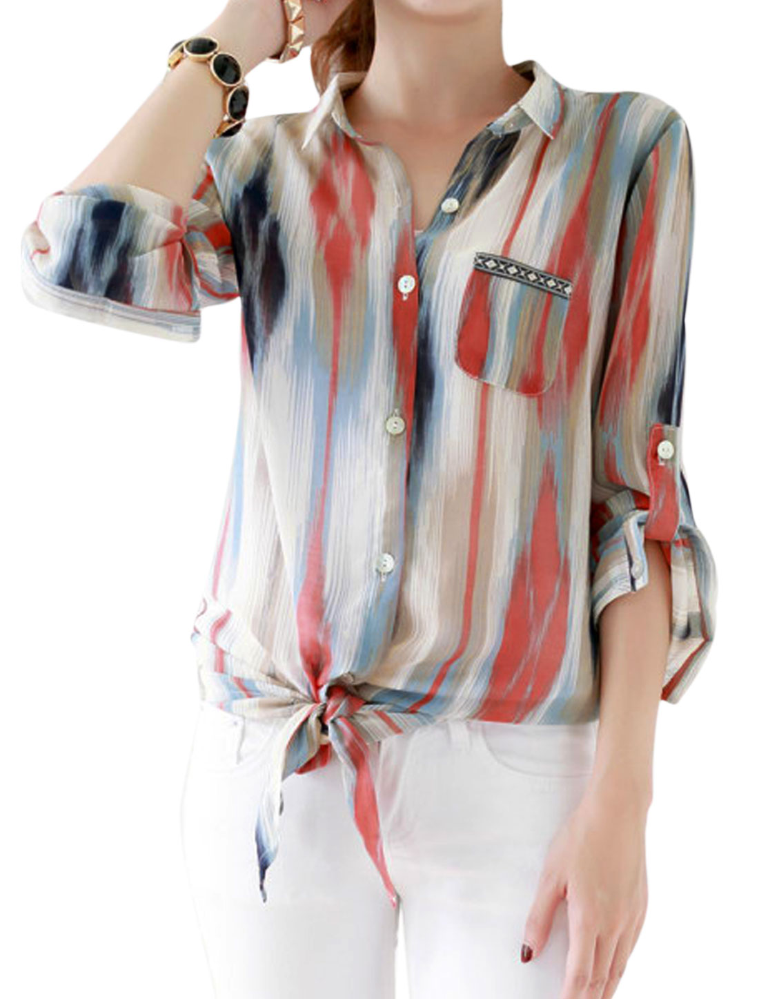 Lady Point Collar Stripes Pattern Single Breasted Casual Shirt Multicolor XS