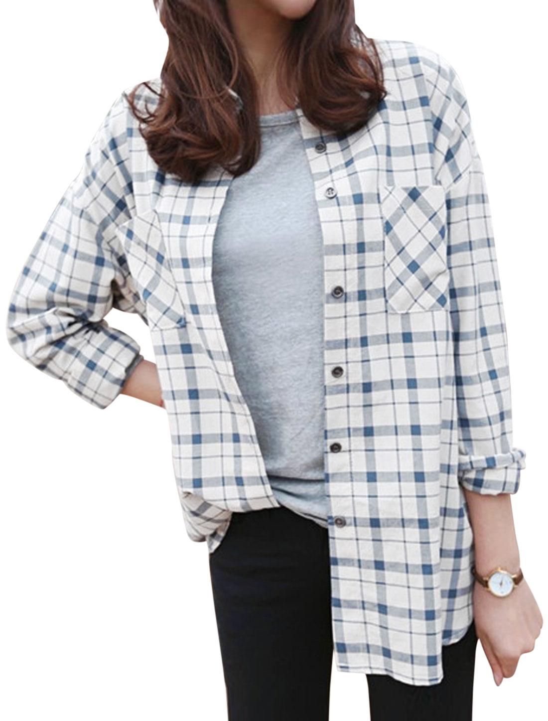 Women Plaids Pattern Single Breasted Tunic Shirt Navy Blue Off White XS
