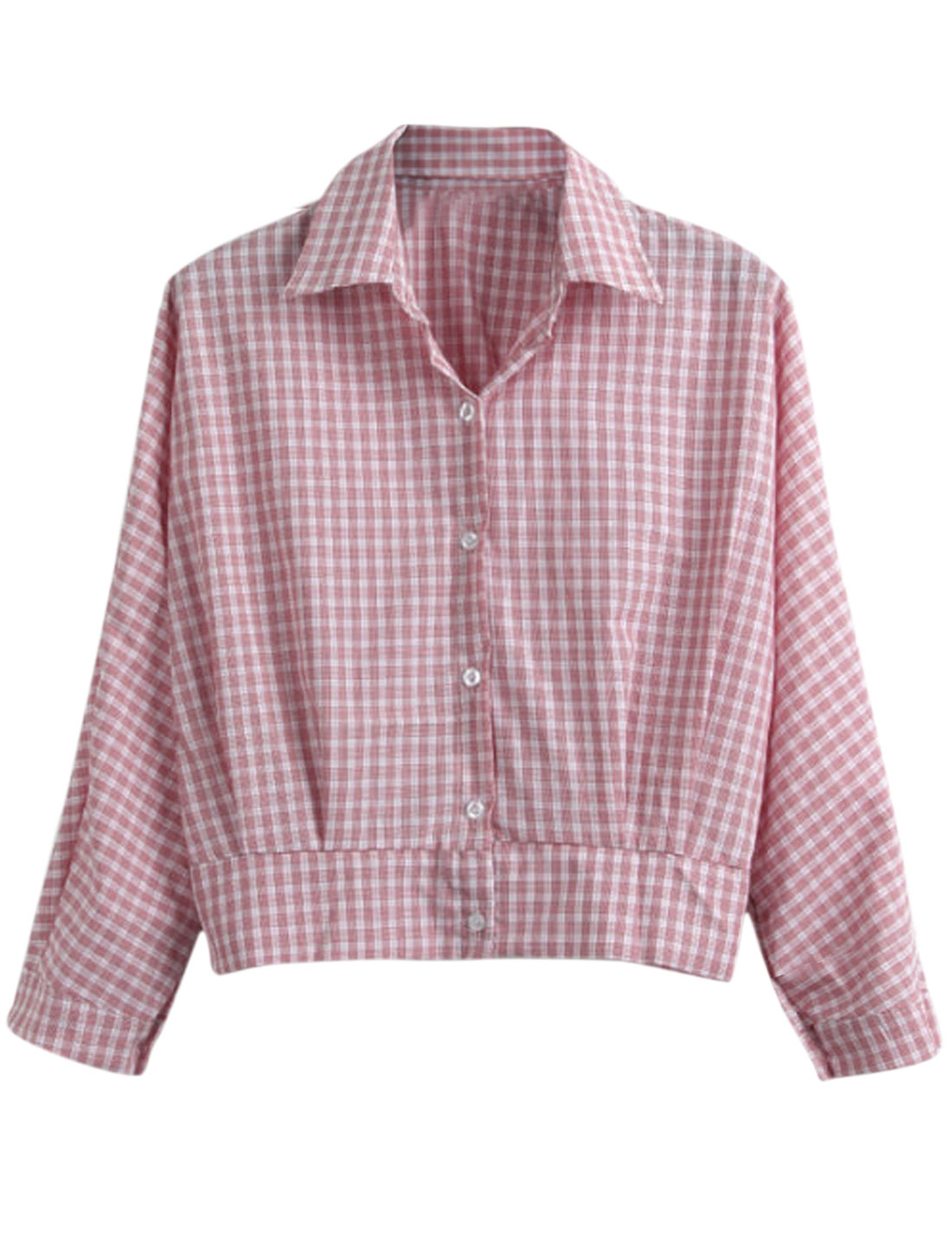 Lady Plaids Pattern Single Breasted Point Collar Long Sleeve Top Pink S