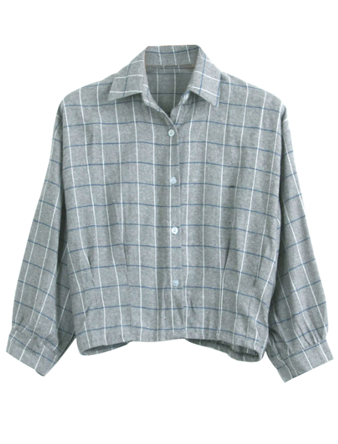 Lady Checks Pattern 3/4 Sleeve Leisure Shirt Gray S