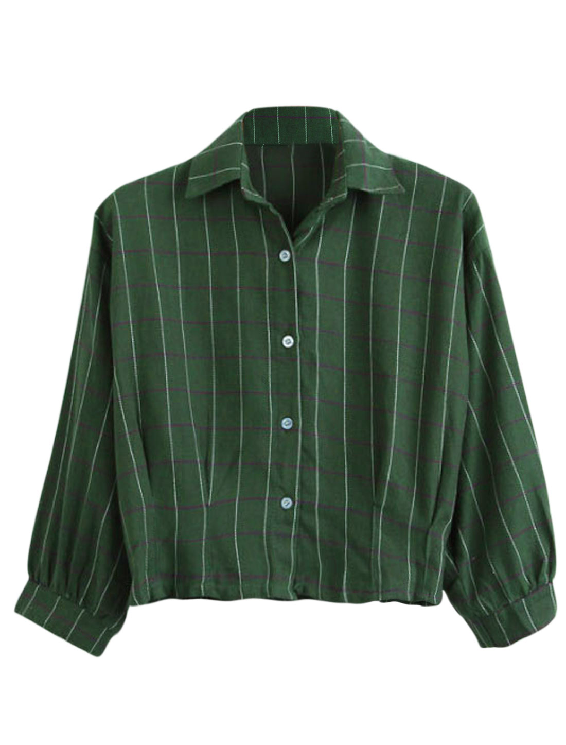 Women Plaids Pattern Single Breasted 3/4 Sleeve Casual Shirt Dark Green S