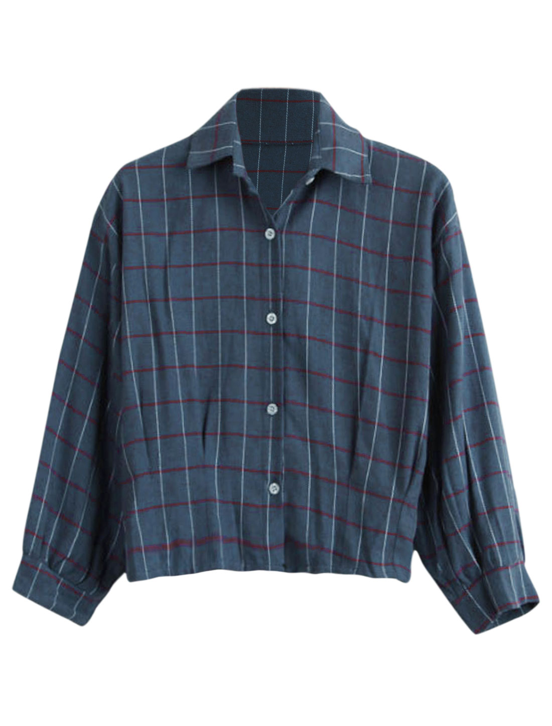 Lady Plaids Pattern Button Closure Front Casual Shirt Navy Blue S