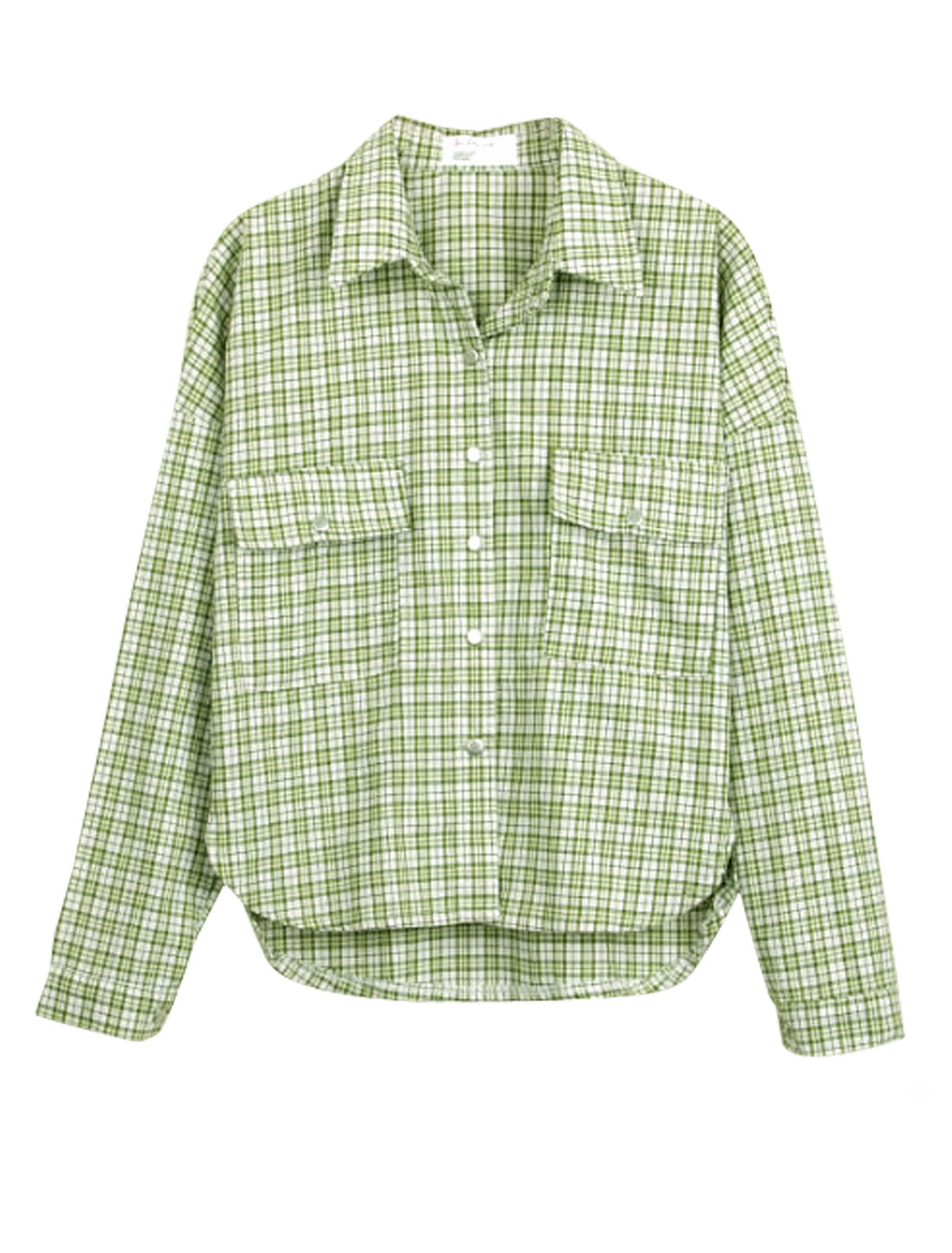 Lady Plaids Pattern Single Breasted Split Side Casual Shirt Light Moss S
