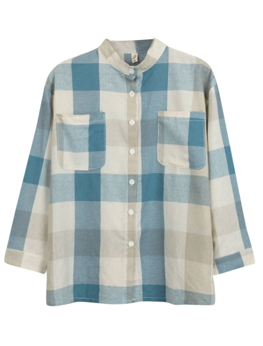 Women Plaids Pattern Single Breasted Bust Pockets Shirt Beige Blue S