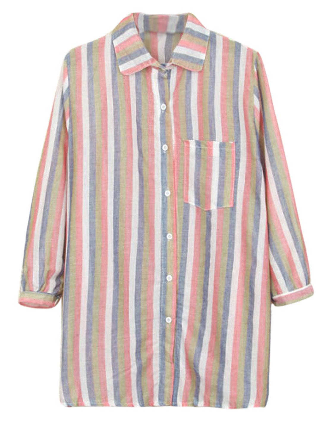 Women Stripes Single Breasted Bust Pocket Split Side Shirt Multicolor M