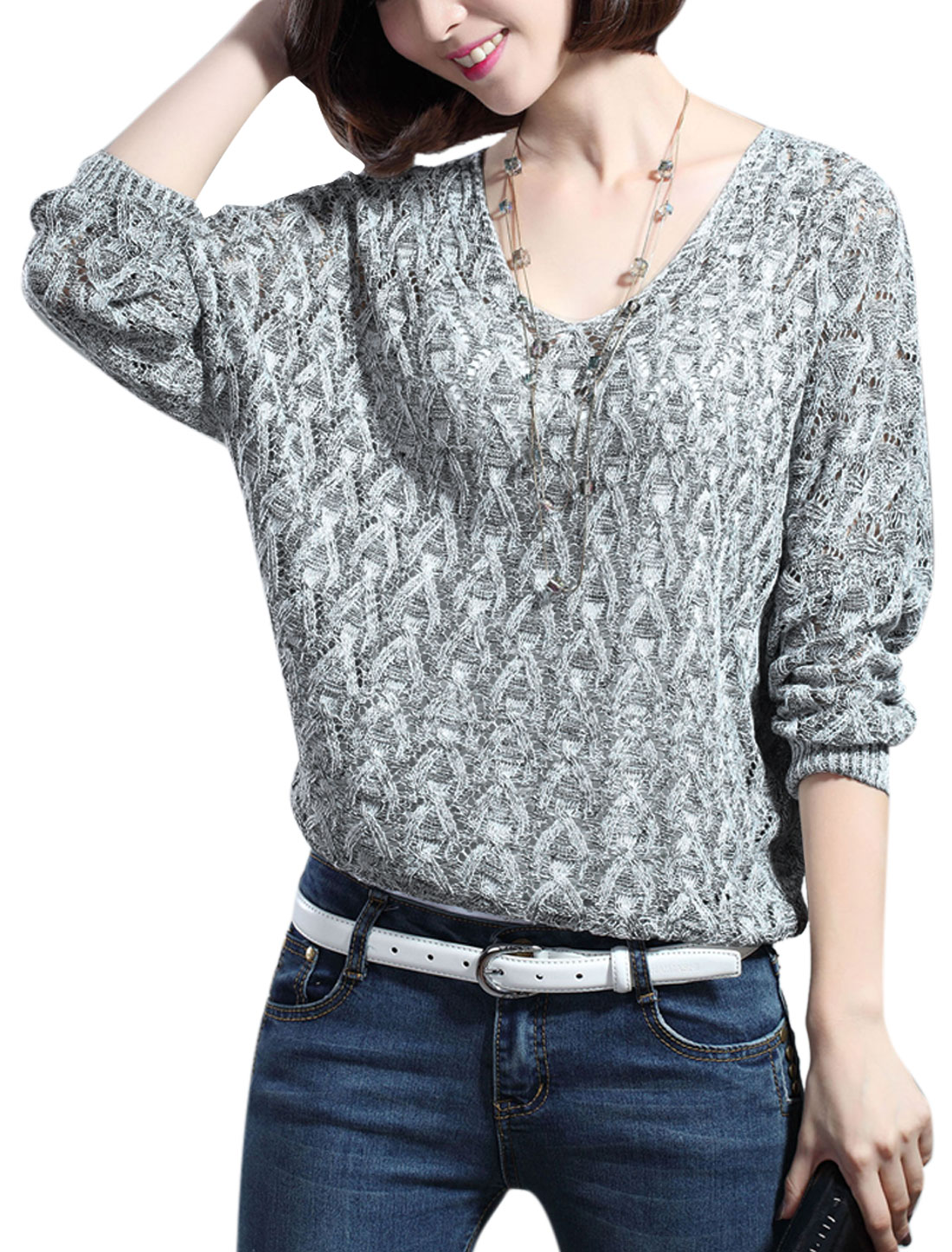 Lady Batwing Sleeve Cable Knit w Hollow Out Design Knit Shirt Gray S