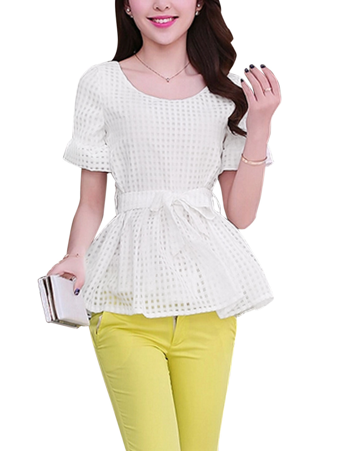 Lady Plaids Design Hidden Zipper Side Casual Blouse w Belt White S