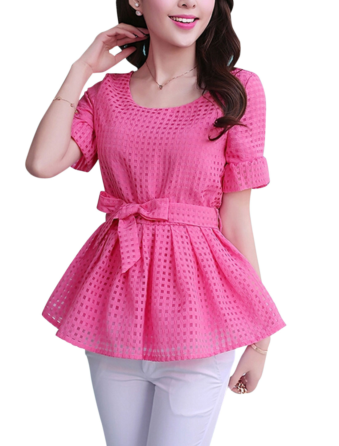 Lady Round Neck Plaids Design Cozy Fit Blouse w Belt Fuchsia S
