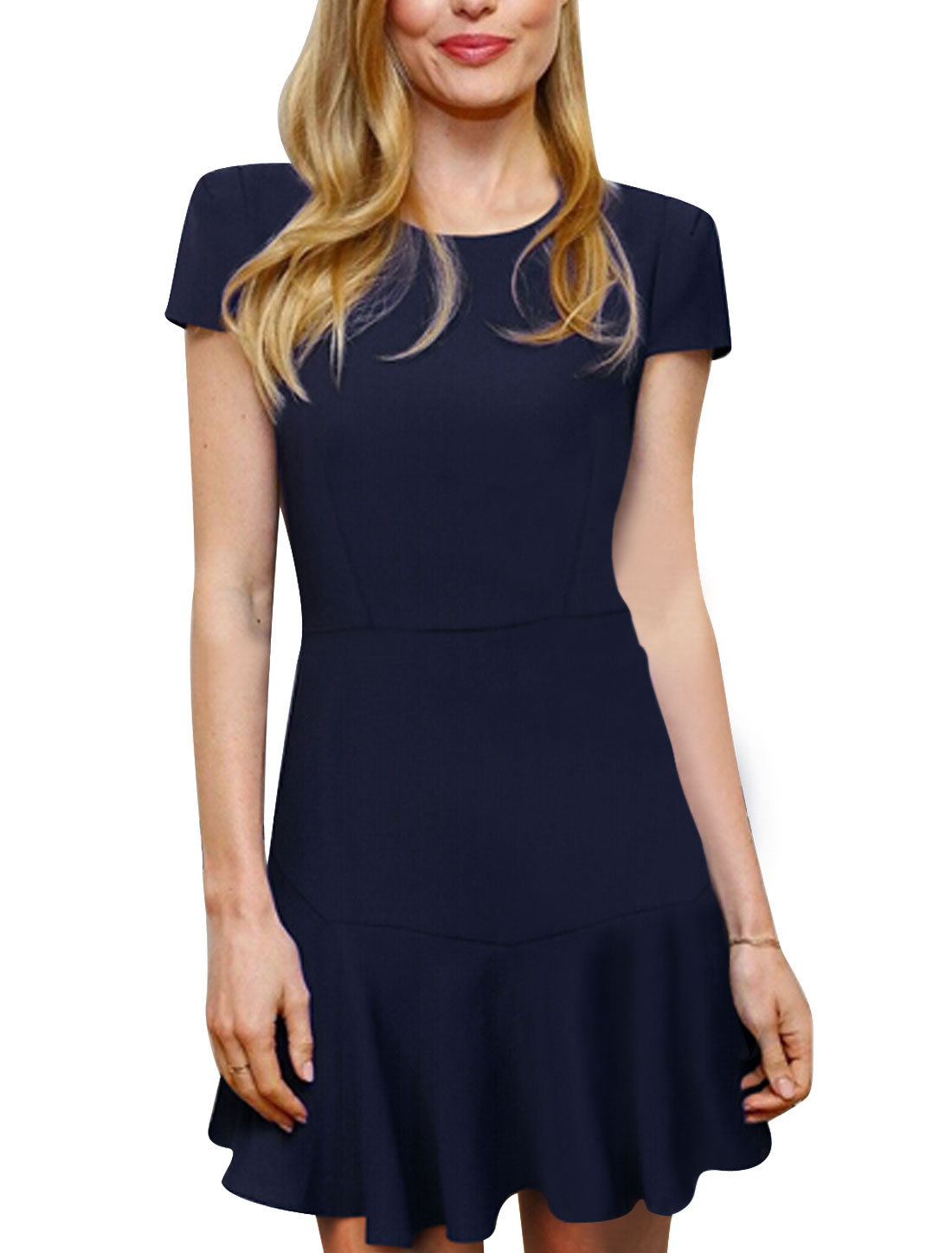Lady Round Neck Zipper Closure Back Casual Short Dress Navy Blue S