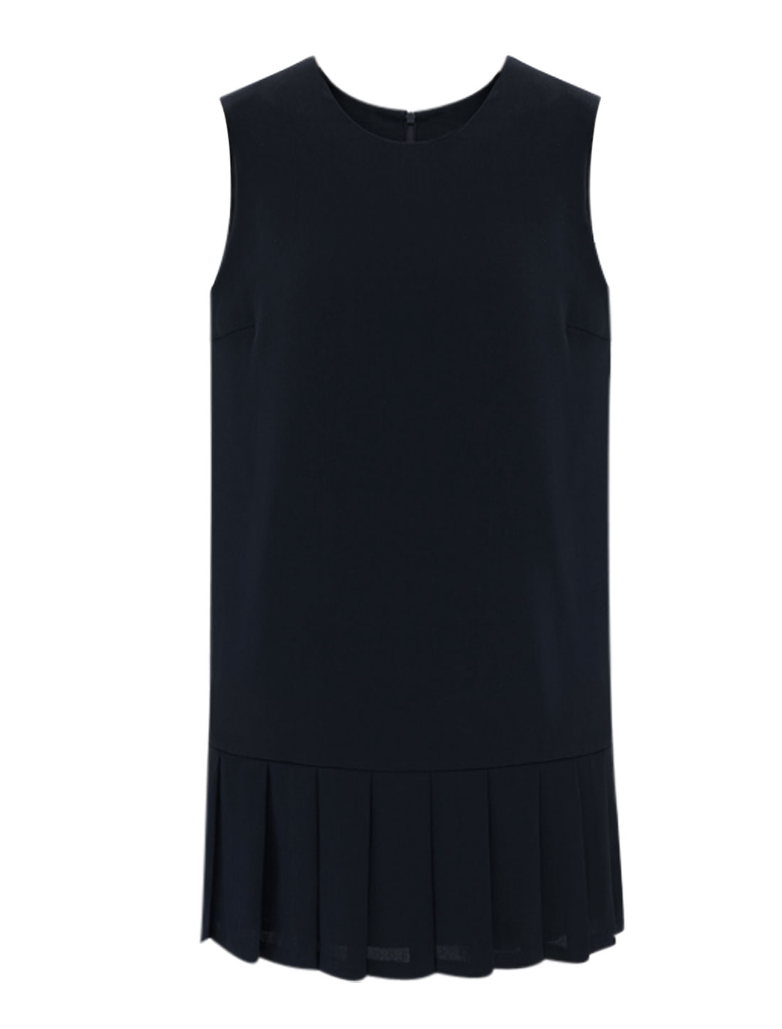 Lady Pleated Hem Hidden Back Zipper Full Lined Chiffon Tank Dress Navy Blue S
