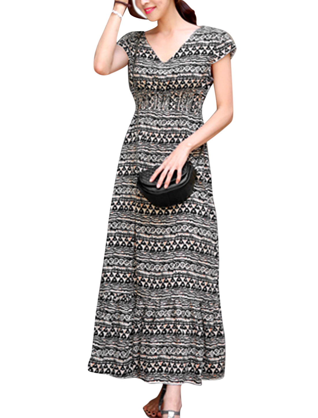 Lady Cap Sleeve Novelty Pattern Casual Dress Black Beige M