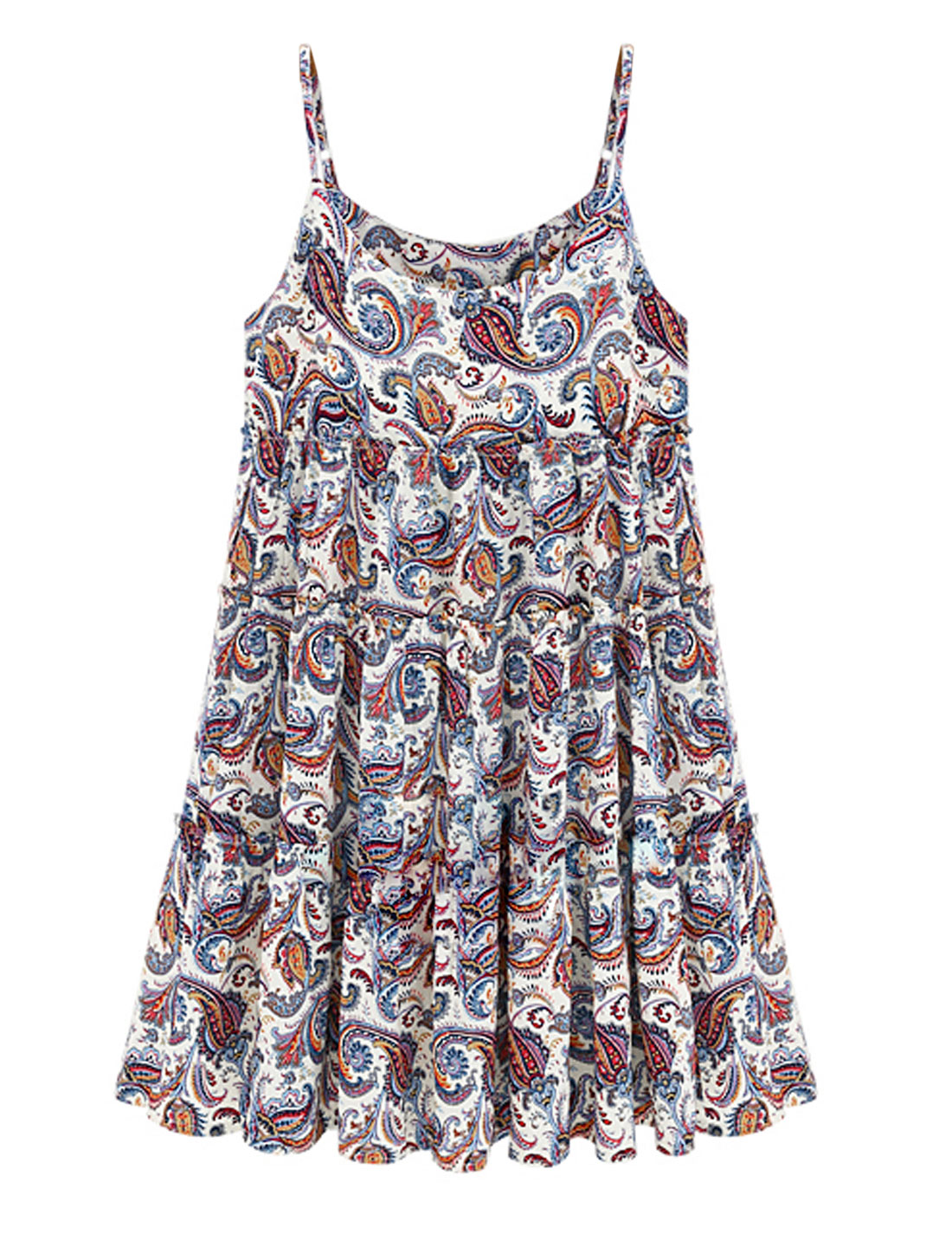 Lady Pullover Spaghetti Straps Paisleys Pattern Casual Dress Multicolor M