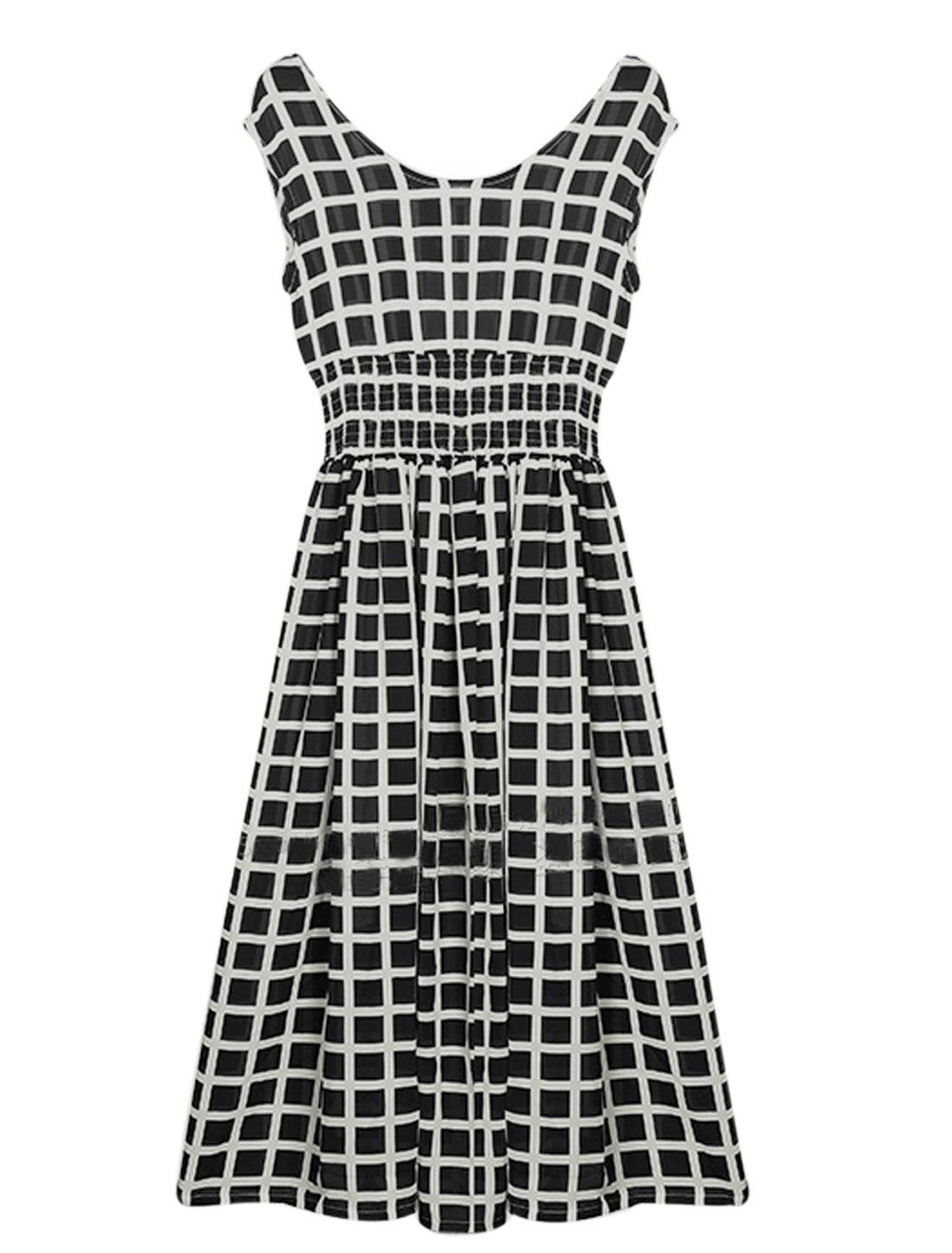 Lady Plaids Pattern Sleeveless Elastic Waist Casual Dress Black White M