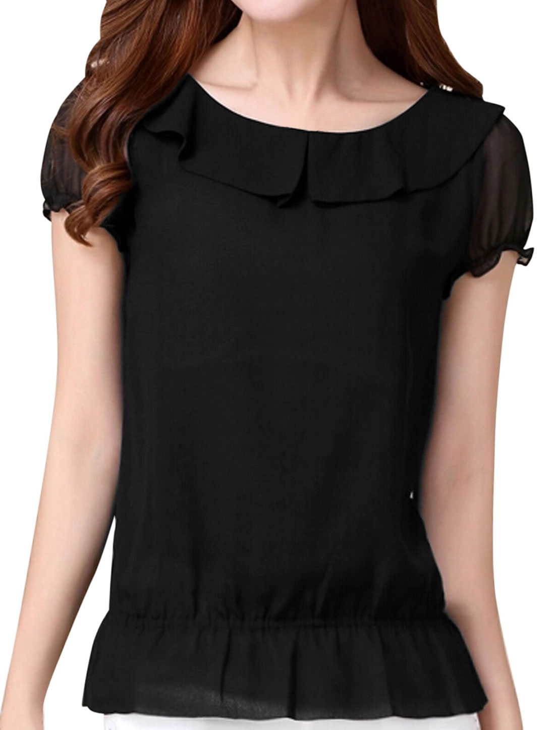 Lady Peter Pan Collar Elastic Waist Casual Chiffon Top Black S