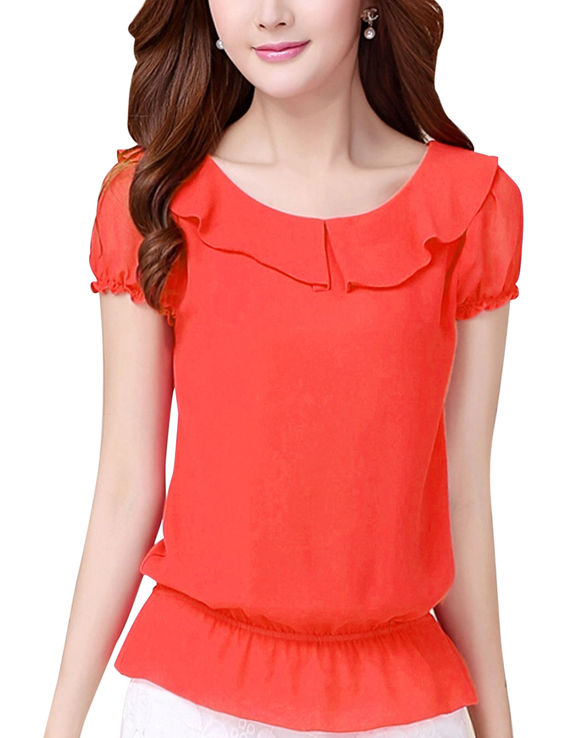 Lady Pullover Peter Pan Collar Cozy Fit Chiffon Top Coral S