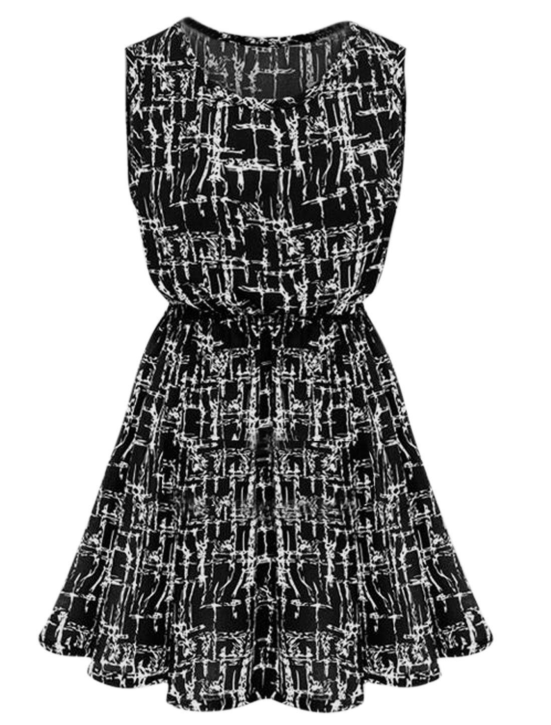 Lady Sleeveless Novelty Pattern Elastic Waist Short Dress Black M