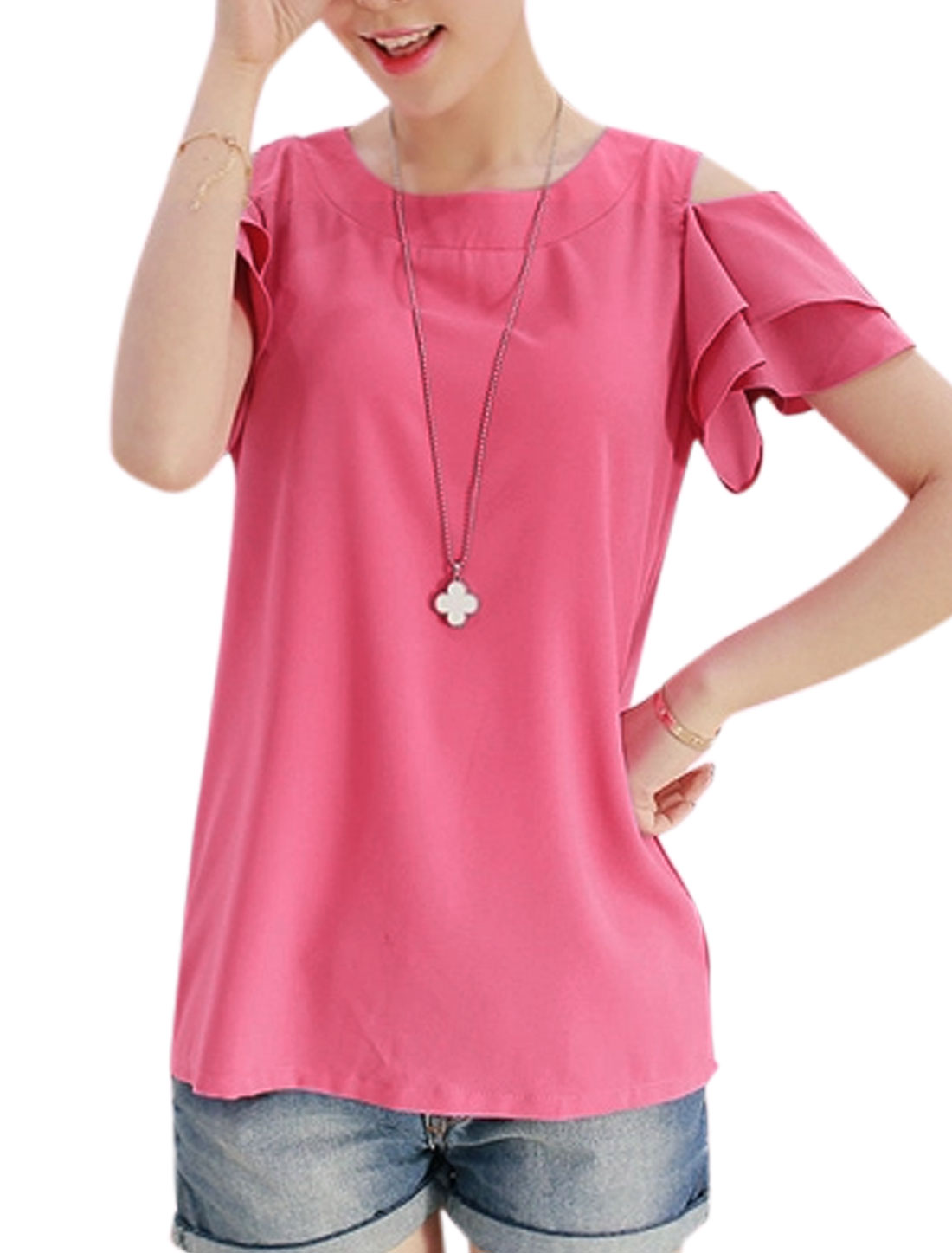 Lady Ruffled Layer Short Sleeves Cut Out Shoulder Blouse Fuchsia M
