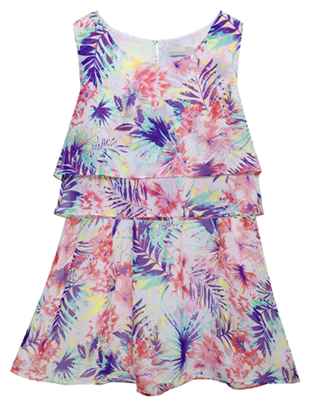 Lady Round Neck Floral Pattern Tiered Ruffles Design Casual Dress Multicolor S