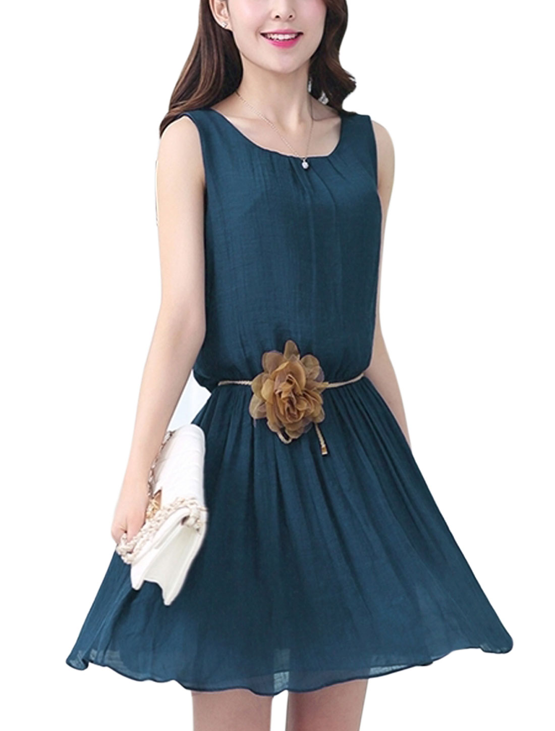 Women Button Closure Tie Back Short Dress w Waist String Navy Blue M