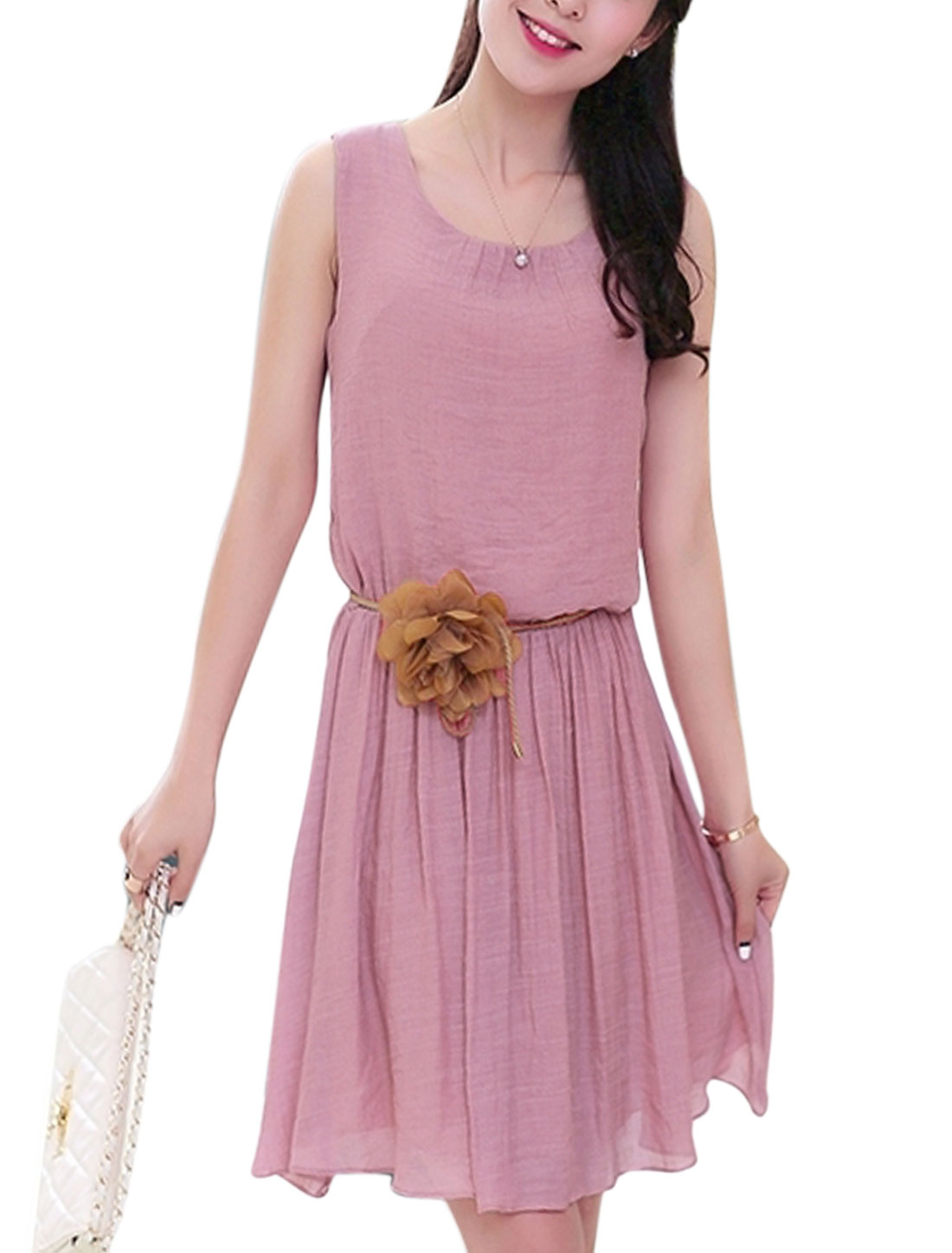 Lady Tie Button Closure Split Back Stretchy Waist Short Dress Pale Pink M