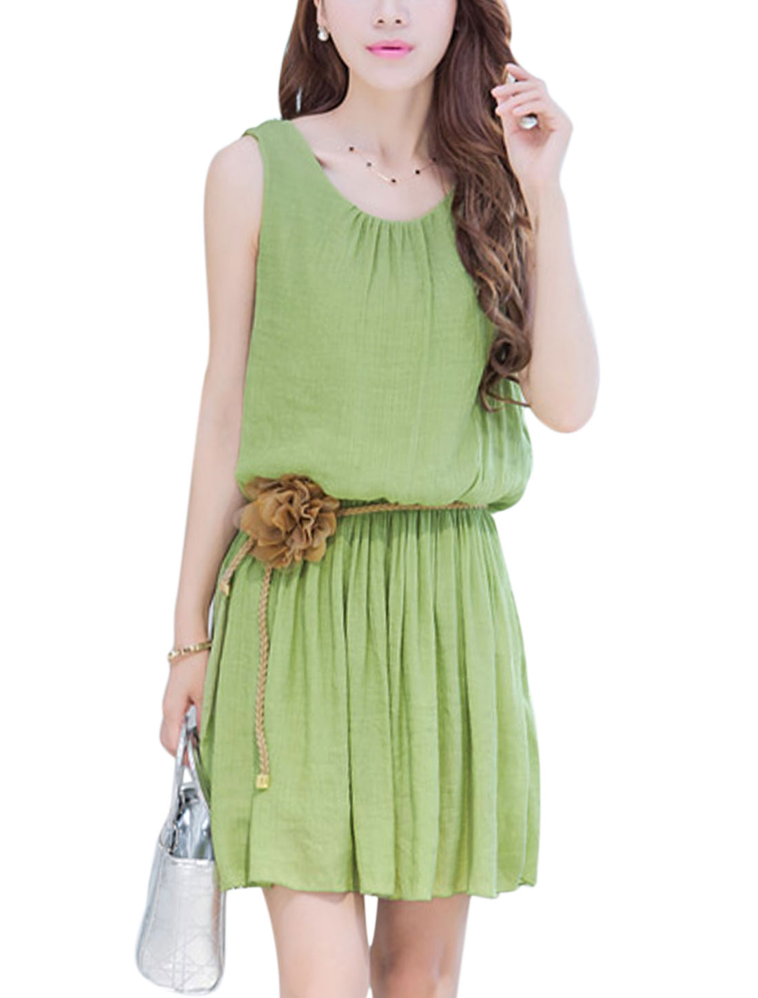 Women Tie Back Elastic Waist Full Lined Short Dress Light Moss M