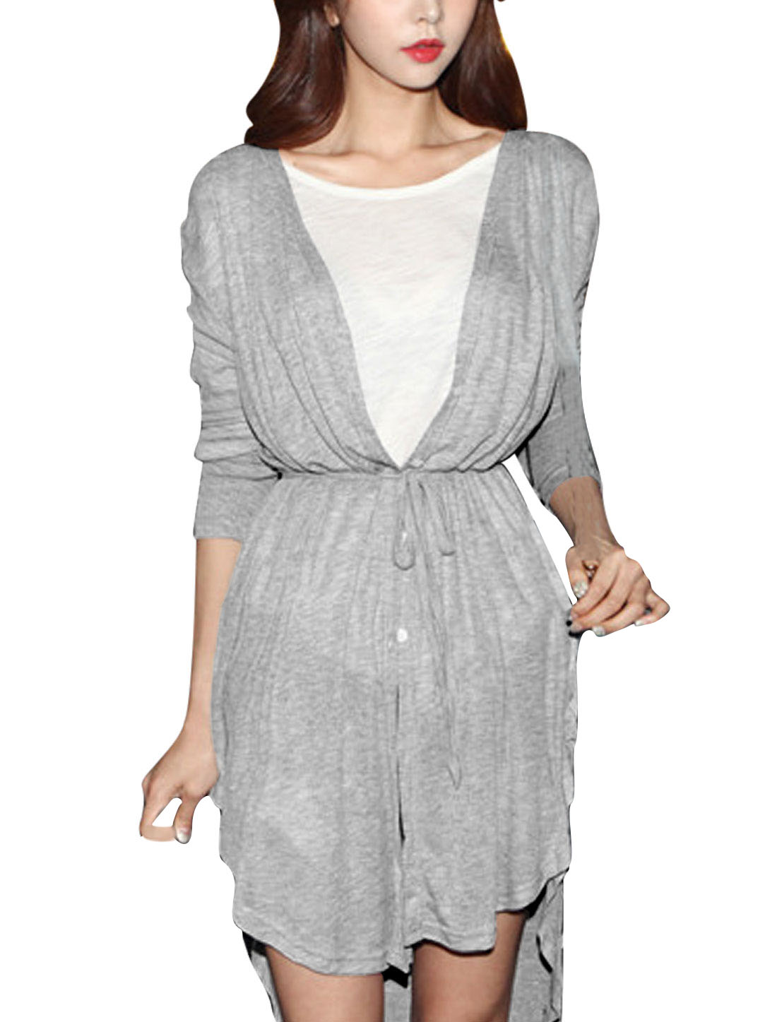 Lady Single Breasted Asymmetric Hem Fashion Tunic Top w String Waist Light Gray S