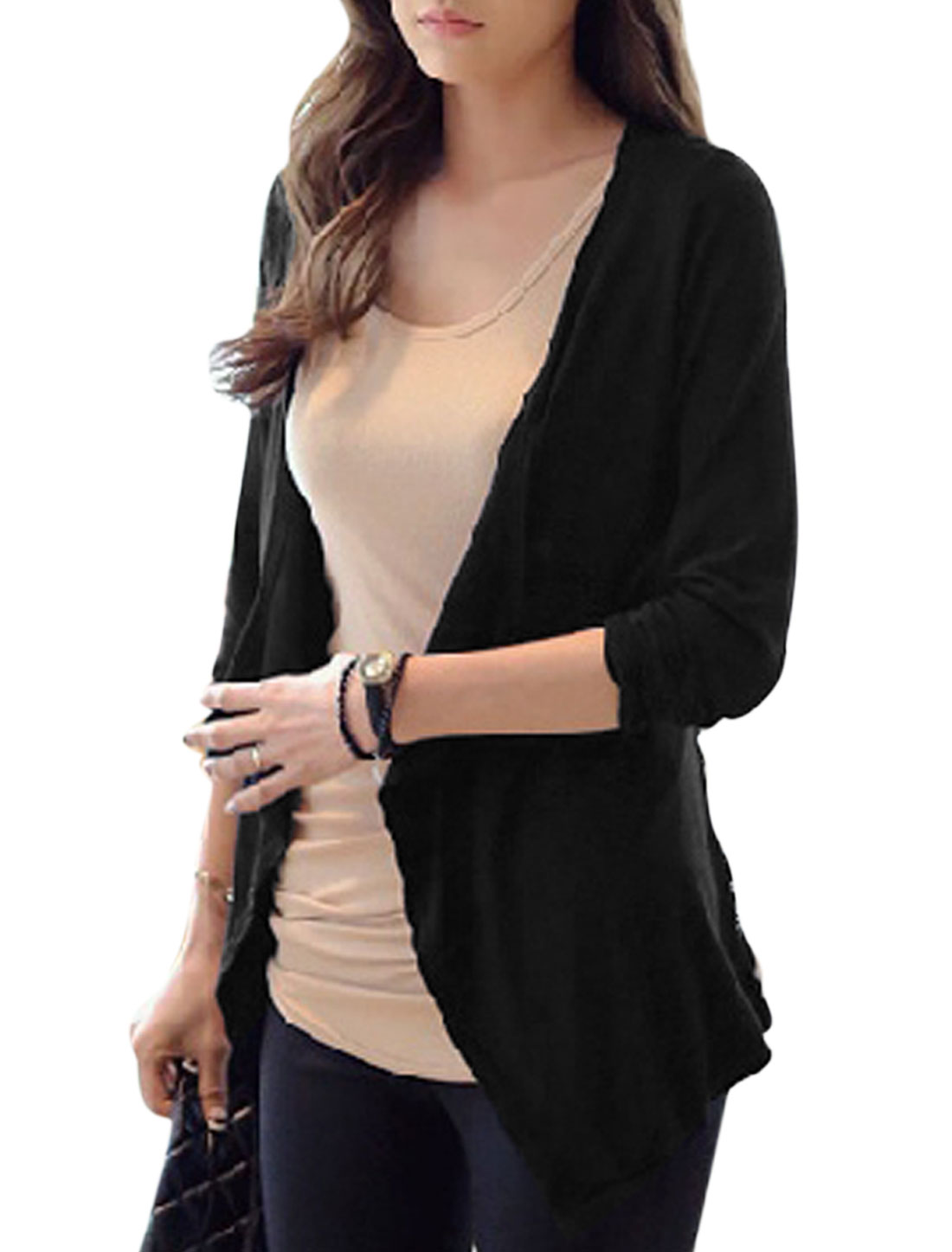 Lady Lace Panel Open Front Asymmetric Hem Casual Cardigan Black S