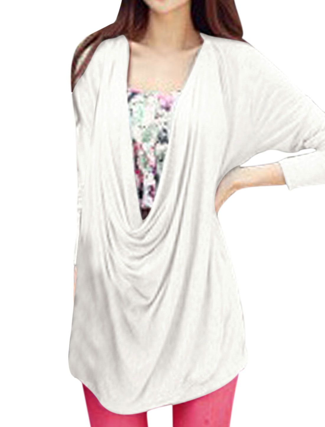 Lady Front Opening Fashionable Cozy Fit Two Way Top White S