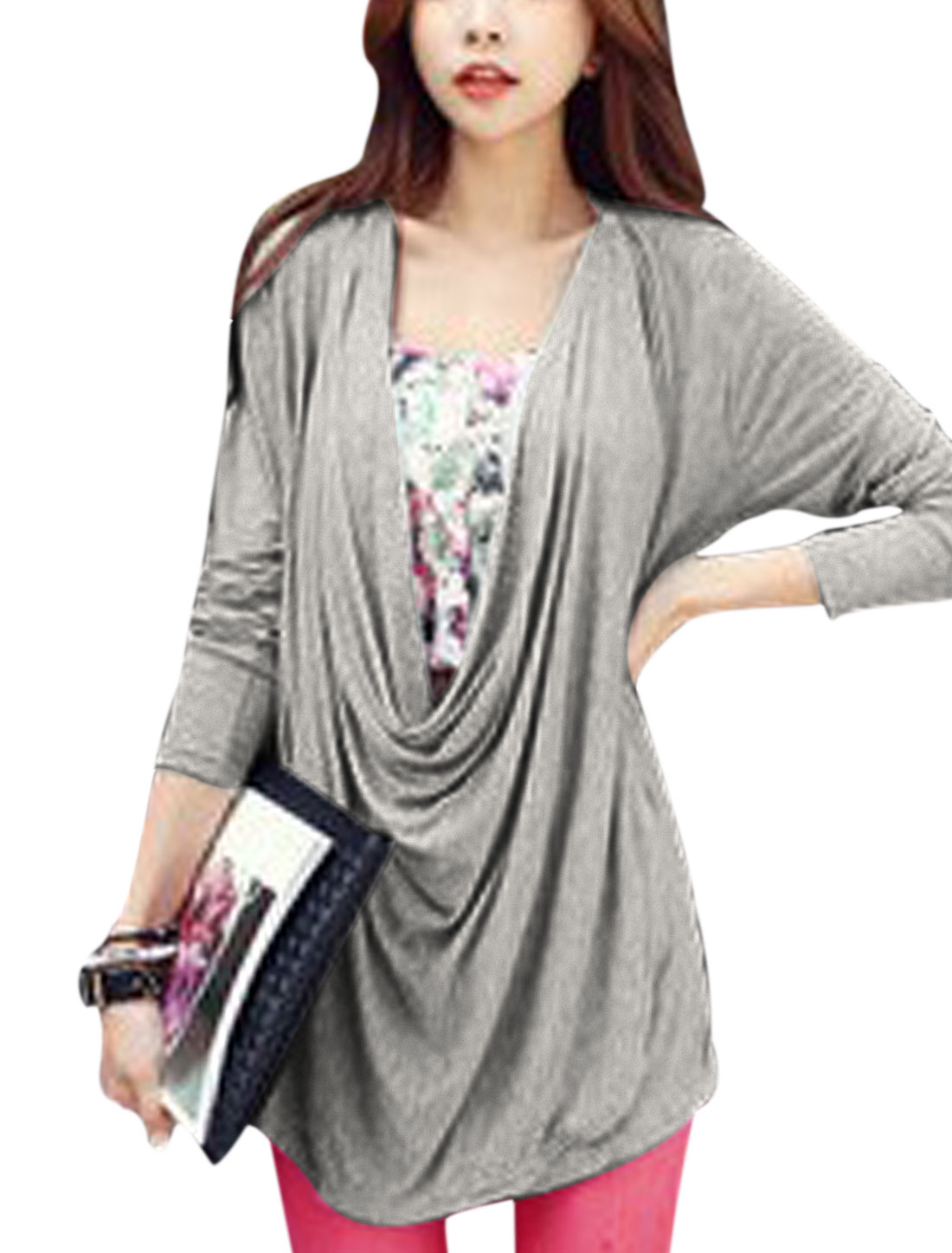 Loose Fit Soft Long Sleeve Two Way Top for Lady Light Gray S