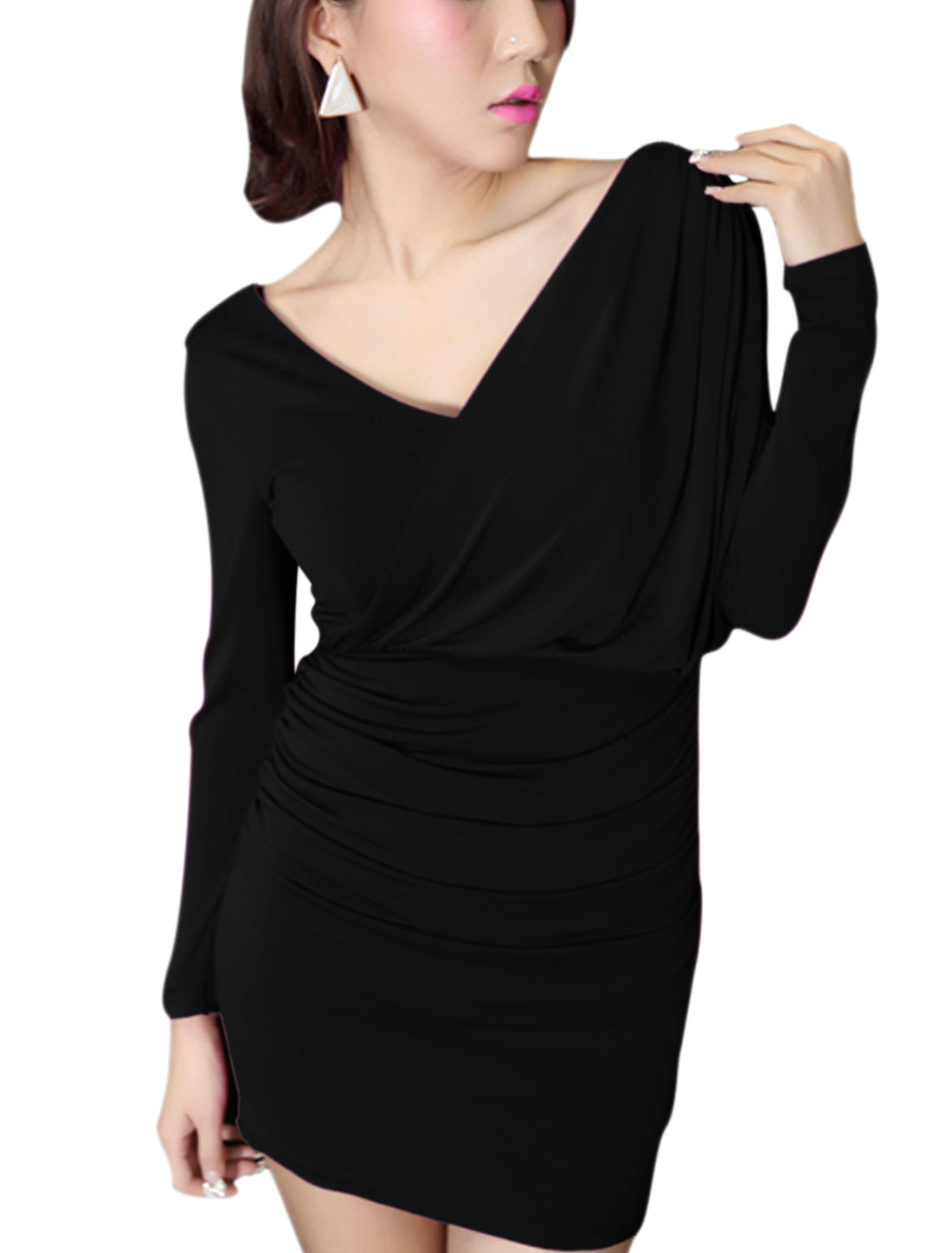 Lady V Neck Panel Shirred Design Slim Stretch Dress Black S