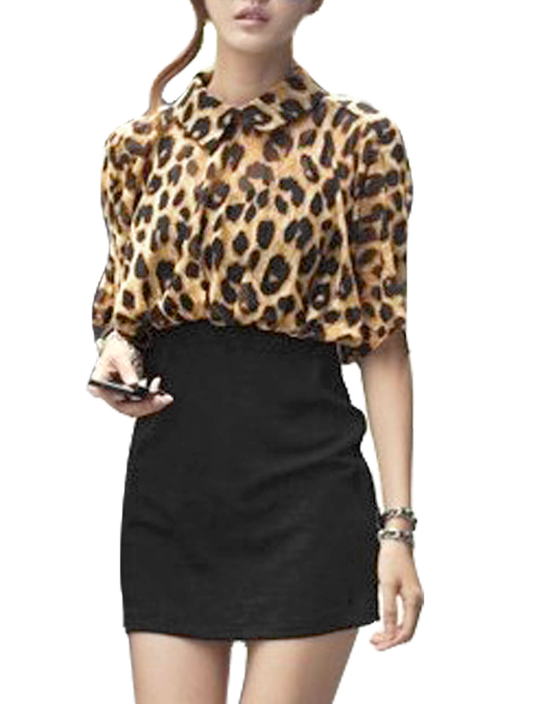 Lady Leopard Pattern Button Closure w Split Back Mini Dress Camel Black XS