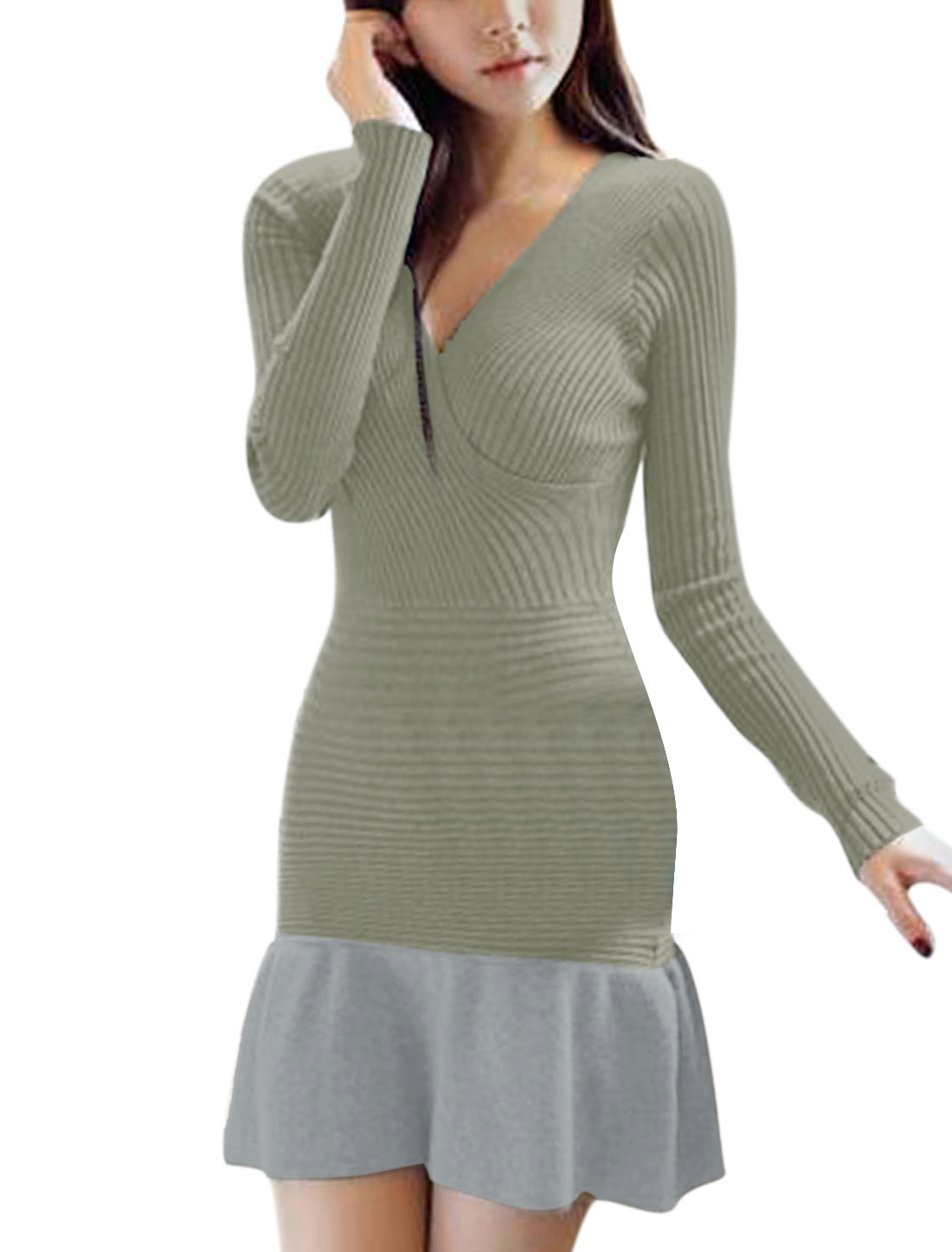 Lady Cross V Neck Pullover Slim Knitted Dress Light Gray M