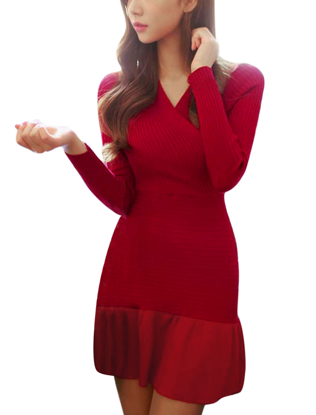Women Spliced Long Sleeve Slipover Slim Knitted Dress Red M