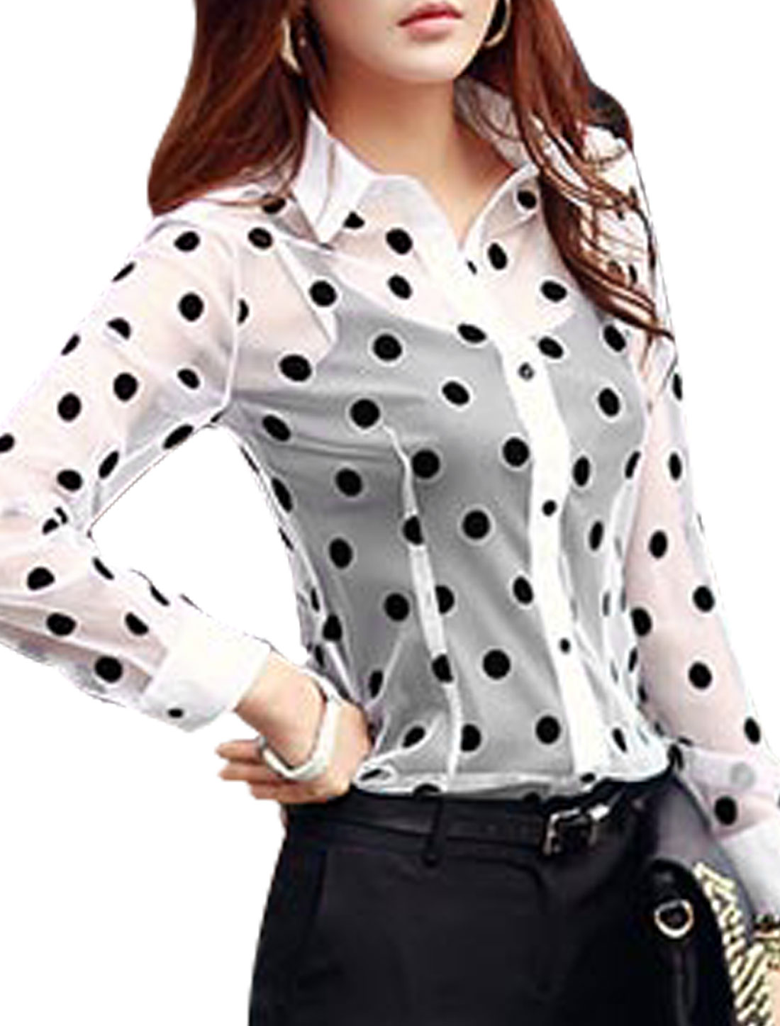 Lady Dots Prints Single Breasted Round Hem Semi Sheer Shirt Black M