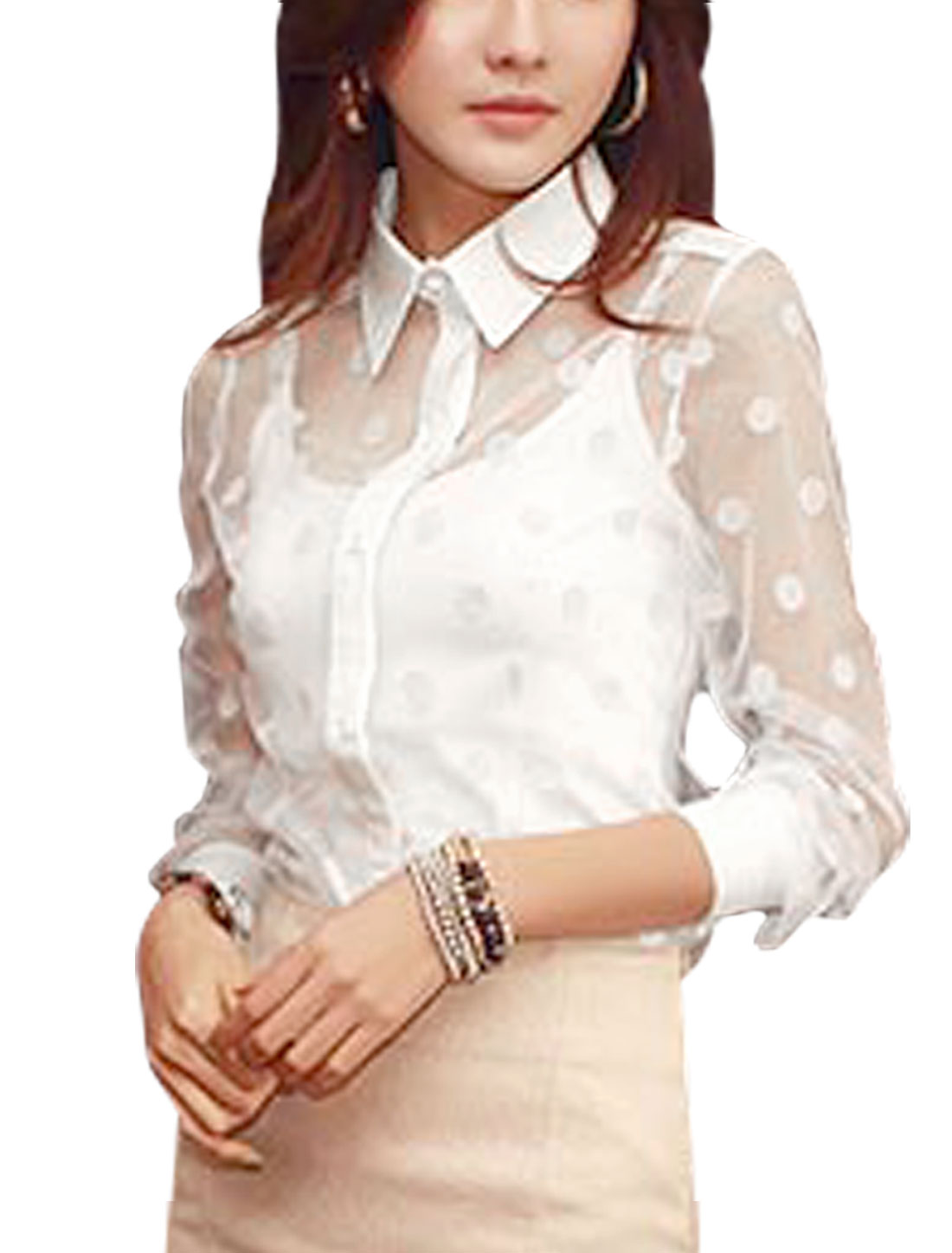 Women Dots Prints Button Closure Front See Through Shirt White M