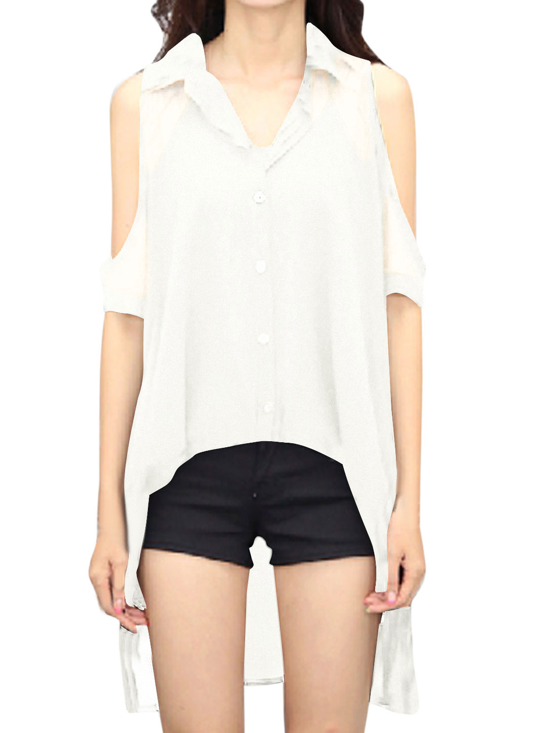 Women Half Raglan Sleeve Cut Out Shoulder Semi Sheer Uneven Hem Tunic Shirt White XS