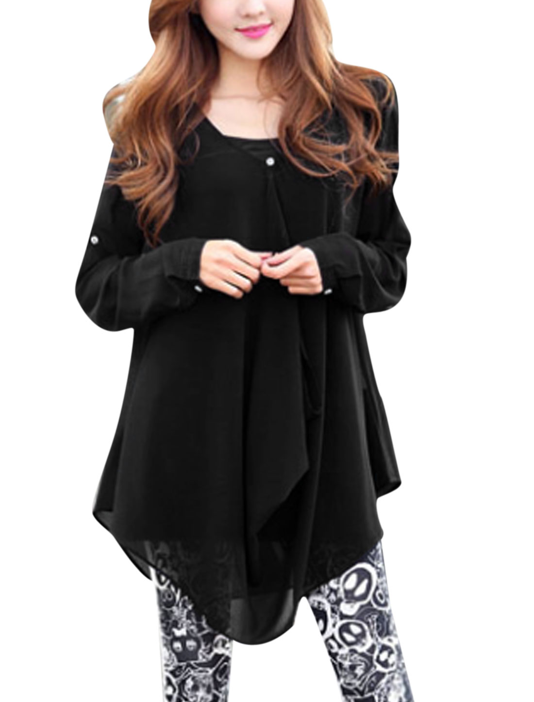 Women Spaghetti Straps Black Cami w Draped Design Front Soft Chiffon Tunic Shirt Black XS