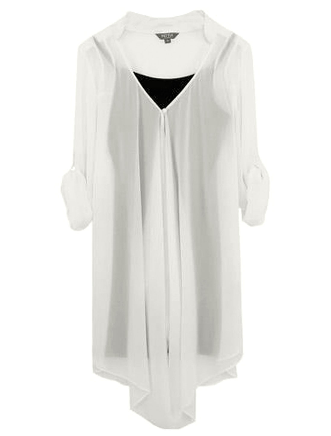 Women Pullover Black Cami w Draped Design Front Soft Chiffon Tunic Shirt White XS