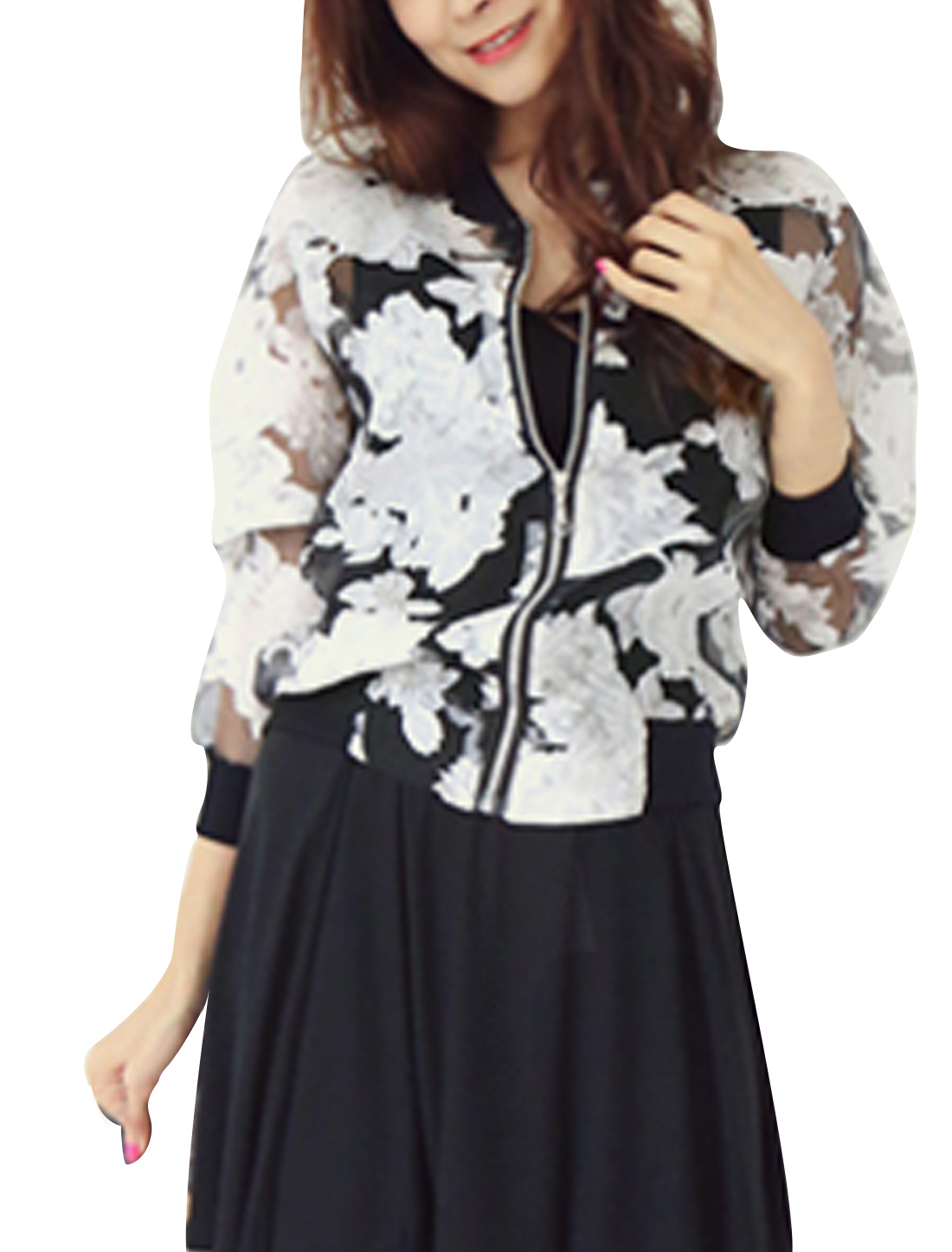 Lady Long Sleeves Floral Pattern Zip Closed Casual Jacket Black White XS